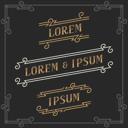 The set of elegant vintage emblems and logos templates. Graceful retro business sign, identity, label. Stock vector. Illustration