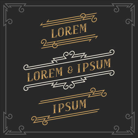 De set van sierlijke vintage emblemen en logo templates. Elegante retro zakelijke teken, identiteit, label. Vector Illustratie.