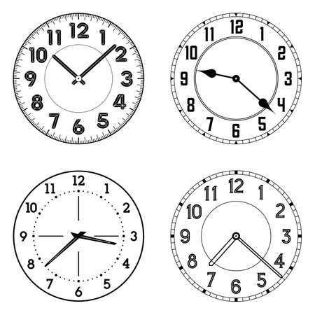 round the clock: The set of different clock faces. Editable vector clock faces. Round shape. Easily remove and replace hands and design.