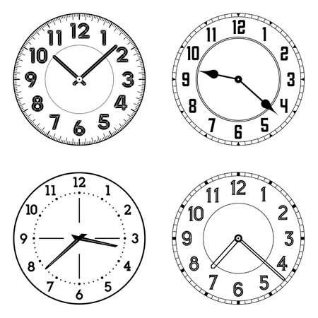 Zestaw różnych zegar stoi. Edytowalne zegar wektora twarze. Okrągły kształt. Łatwo usunąć i zastąpić ręce i design.