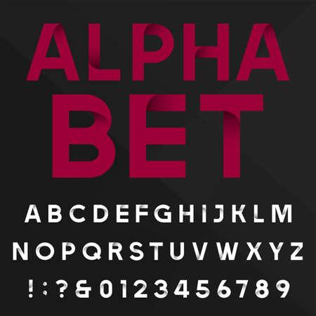 Decoratieve alfabet vector lettertype. Schreefloze soort letters, cijfers en symbolen op een donkere achtergrond. Stock vector typografie voor krantenkoppen, posters etc. eenvoudig kleur veranderen. Stock Illustratie