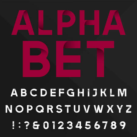 alphabetical letters: Decorative alphabet vector font. Sans serif type letters, numbers and symbols on a dark background. Stock vector typography for headlines, posters etc. Easy color change.