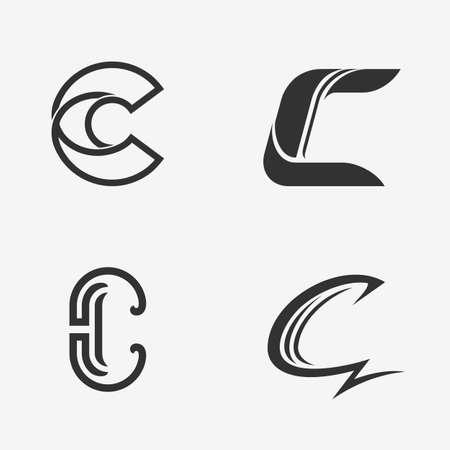 letter c: set of letter C sign Illustration