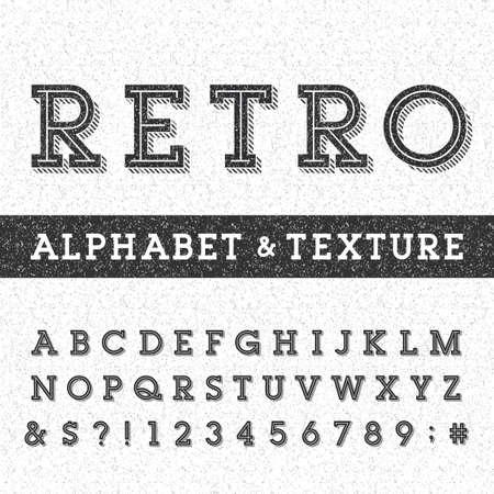 Retro alfabet vector lettertype met verontruste overlay textuur