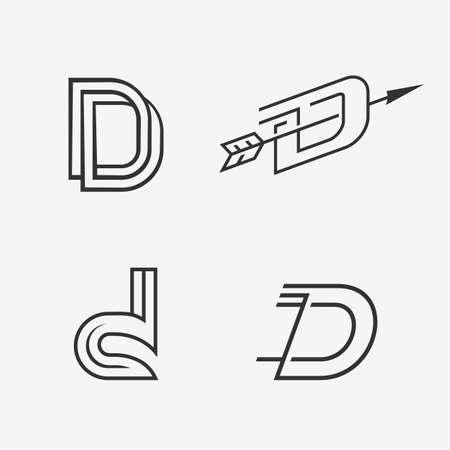 letter d: letter D sign icon design template elements