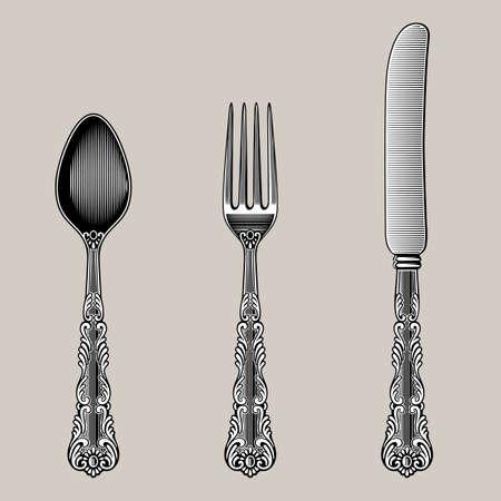 Antieke bestek. Vector lepel, vork en mes in vintage stijl uit de Victoriaanse periode. Werkt goed als een muur stickers. Stock Illustratie