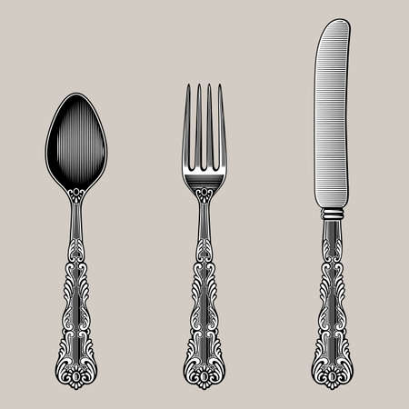 Antique Cutlery. Vector spoon, fork and knife in vintage style from the Victorian period. Works well as a wall stickers. Иллюстрация