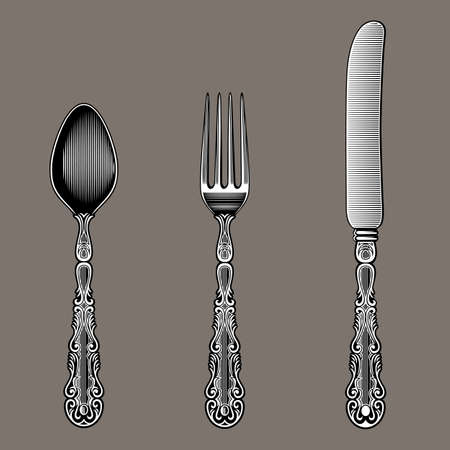 Antique Cutlery. Spoon, fork and knife in vintage style from the Victorian period. Works well as a wall stickers. Stock vector.