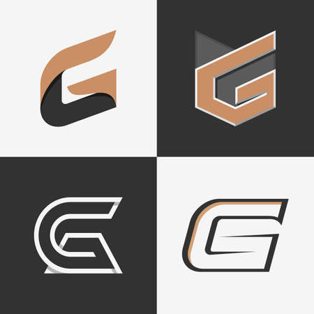 cg: The set of letters G signs, logos, icon design templates elements. Stock vector. Illustration