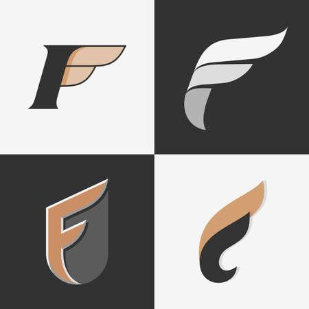 logo ordinateur: L'ensemble des signes lettres F, logos, modèles éléments de conception d'icônes. Illustration vectorielle.