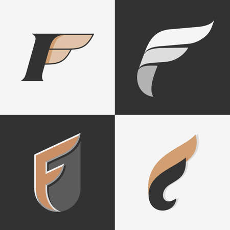 The set of letters F signs, logos, icon design templates elements. Stock vector. Çizim
