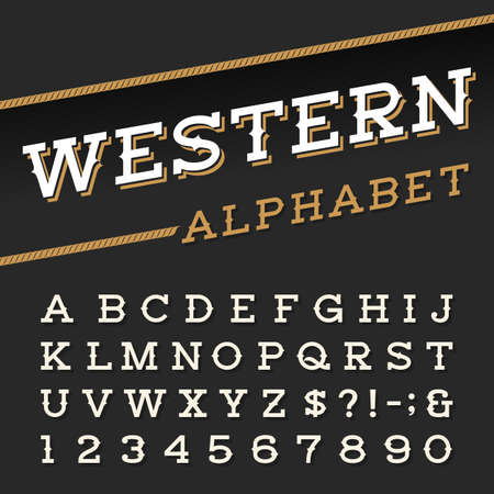 Western style retro alphabet vector font. Serif type letters, numbers and symbols on a dark background. Vintage vector typography for labels, headlines, posters etc. Vettoriali