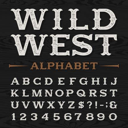 madera: Estilo occidental fuente vectorial alfabeto apenado retro. Tipo Serif sucios letras, números y símbolos en un fondo de textura de madera oscura. Tipografía vector vintage para las etiquetas, títulos, carteles, etc.