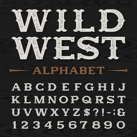 distressed: Western style retro distressed alphabet vector font. Serif type dirty letters, numbers and symbols on a dark wood textured background. Vintage vector typography for labels, headlines, posters etc.