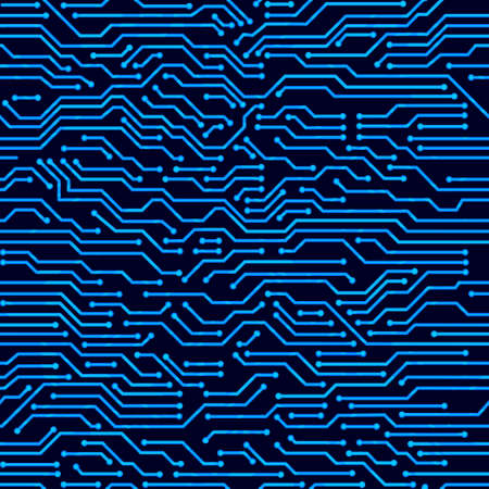 Circuit board seamless pattern. Digital hi-tech style vector background.