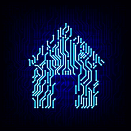 microelectronics: Smart home concept. Circuit board house logo icon on the digital high tech style vector background.