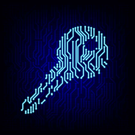 Security concept. Circuit board key logo icon on the digital high tech style vector background. Stock Illustratie