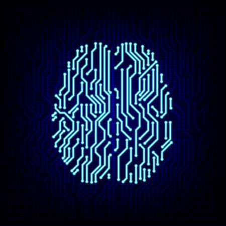 Kunstmatige intelligentie concept. Printplaat hersenen logo pictogram op de digitale high tech stijl vector achtergrond.