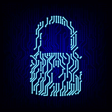 Security concept. Circuit board lock logo icon on the digital high tech style vector background.