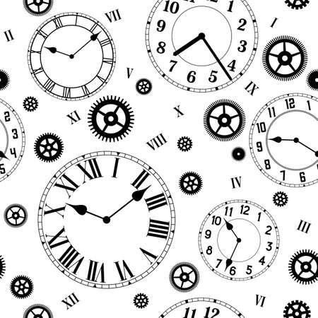 vintage: Relógios e engrenagens do vetor sem emenda. Cores preto e branco. Ilustração