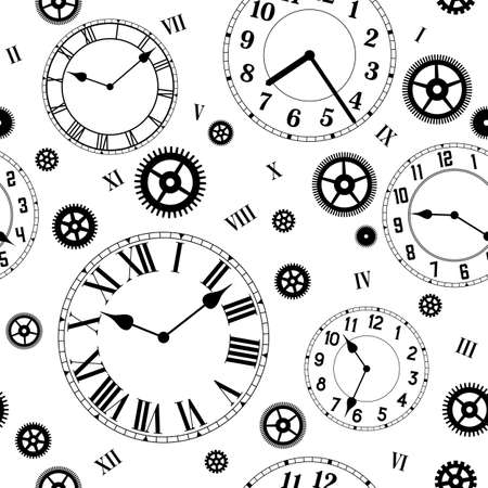 Clocks and gears vector seamless pattern. Black and white colors.