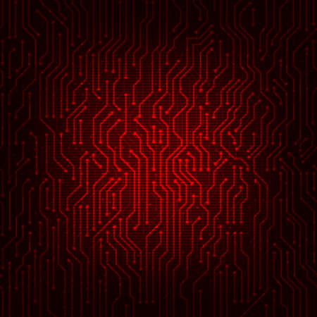 Red circuit board abstract vector background. Digital hi-tech style vector background. Vettoriali