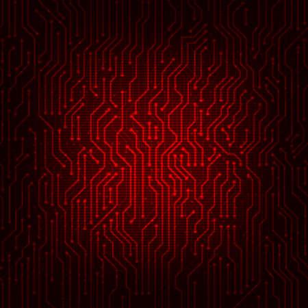 circuitos electronicos: Placa de circuito rojo del extracto del vector de fondo. Digital estilo de alta tecnología de vectores de fondo.