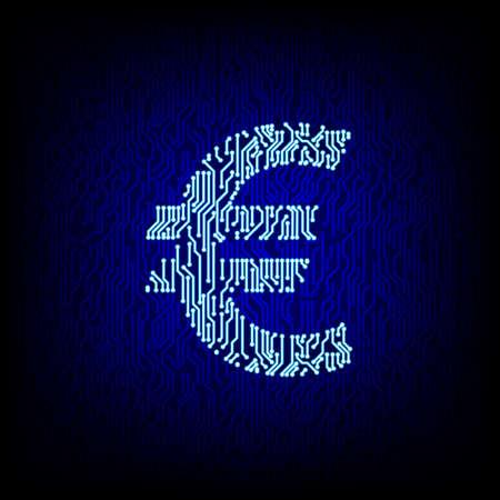 Cyber money concept. Circuit board euro symbool op de digitale high tech stijl vector achtergrond.