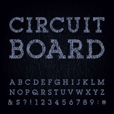 hightech: Circuit board type font. Vector Alphabet. Digital high-tech style letters, numbers and symbols on the dark background. Stock vector for your headlines, posters etc. Illustration
