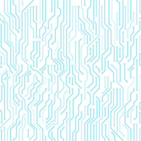 techno: Circuit board seamless pattern. Digital high tech style vector bright background.
