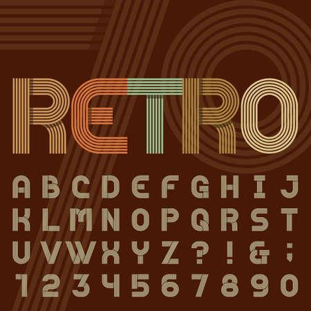 Retro stijl streep alfabet vector lettertype. Sans serif soort funky letters, cijfers en symbolen in trendy design. Stock vector typografie voor koppen, affiches in jaren '70 stijl etc. gemakkelijk kleur te veranderen.