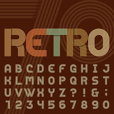 Retro style stripe alphabet vector font. Sans serif type funky letters, numbers and symbols in trendy design. Stock vector typography for headlines, posters in 70s style etc. Easy color change. Çizim