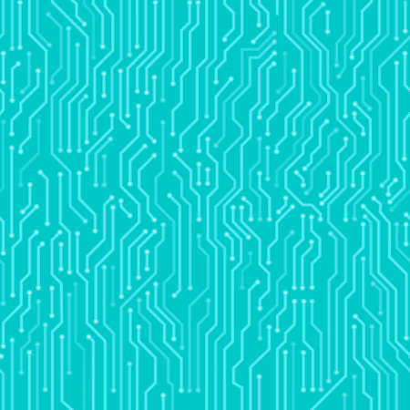 Circuit board seamless pattern. Digital high tech style vector background. Çizim
