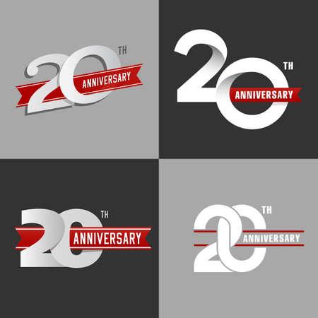 De set van de 20ste verjaardag borden in verschillende stijlen. Design elementen. Stock vector. Stock Illustratie