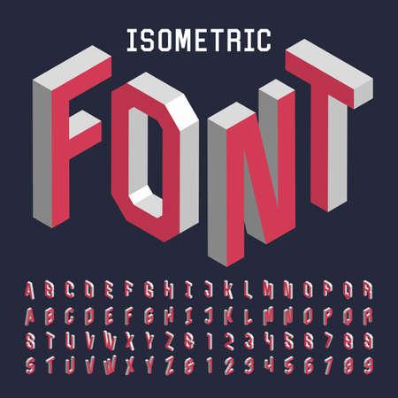 nombres: 3d isom�trique police vectorielle alphabet. Isom�trique lettres, chiffres et symboles. Three-Dimensional typographie stock vecteur de titres, affiches, etc. Illustration