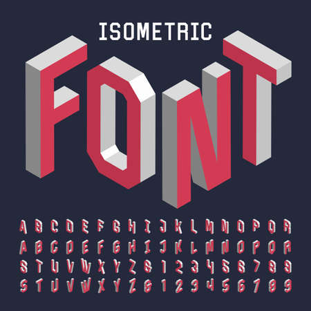 3d isometric alphabet vector font. Isometric letters, numbers and symbols. Three-Dimensional stock vector typography for headlines, posters etc.
