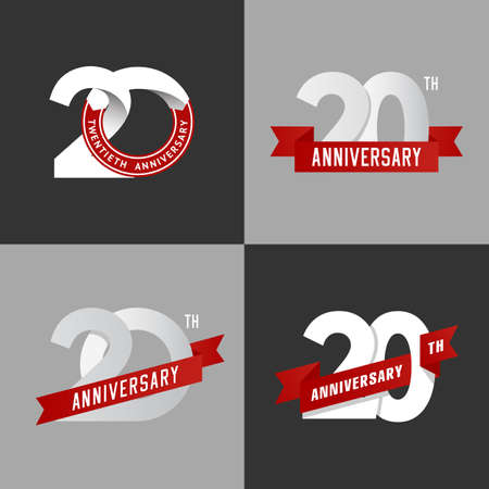 anniversary party: The set of 20th anniversary signs in different styles. Design elements. Vector illustration. Illustration