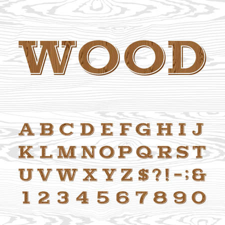 retro type: Wooden retro alphabet vector font. Serif type letters, numbers and symbols on the light wood background. Vintage vector typography for labels, headlines, posters etc.