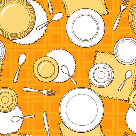 dinnerware: Tableware seamless pattern. Hand-drawn various dishware such as spoon, fork, knife, cups and plates on the yellow checkered tablecloth. Vector background.