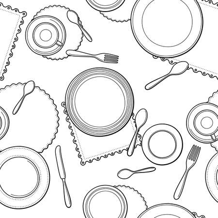 plate: Tableware seamless pattern. Hand-drawn various dishware such as spoon, fork, knife, cups and plates at a table. Black and white colors. Vector background.