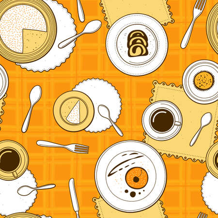 checkered: Desserts seamless pattern. Hand-drawn various dishware with desserts at a table with yellow checkered tablecloth. Vector background. Illustration