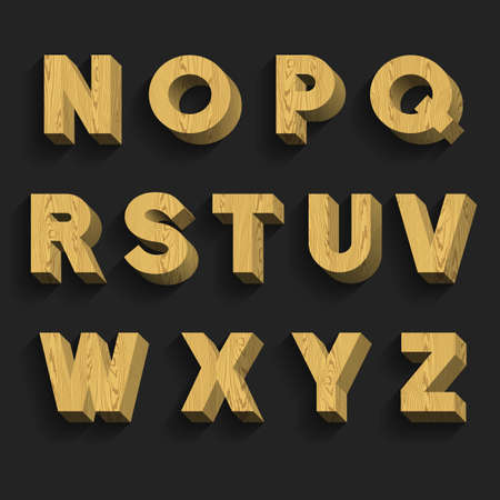 alphabetical order: Wood Alphabet Vector Font. Part 2 of 3. Letters N - Z. 3D wooden letters with shadow on a dark background.