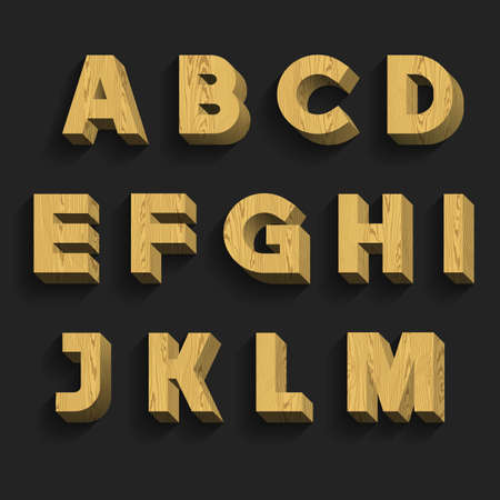 alphabetical order: Wood Alphabet Vector Font. Part 1 of 3. Letters A - M. 3D wooden letters with shadow on a dark background.