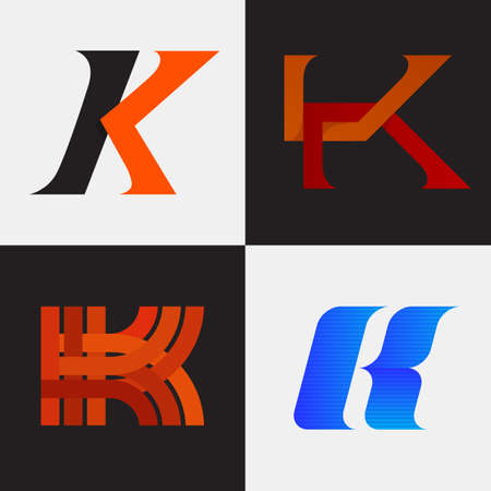 letter k: The set of letter K sign, icon design template elements. One color. Stock vector.