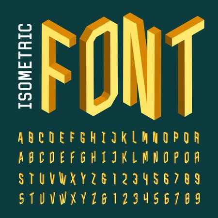 Alfabeto fuente vectorial isométrica. 3D isométrico letras, números y símbolos. Tridimensional de composición tipográfica stock vector para titulares, carteles, etc. Ilustración de vector