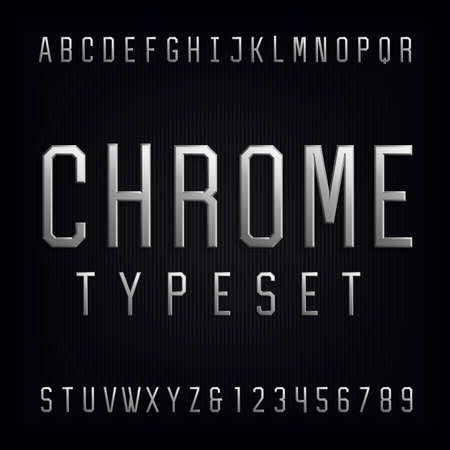 metal: Chrome Alphabet Vector Font. Type letters, numbers and punctuation marks. Beveled metal effect letters on dark background. Vector typeset for headlines, posters etc. Illustration