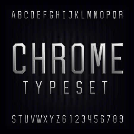 Cromo alfabeto vector de fuente. Escriba letras, números y signos de puntuación. Cartas de efectos metálicos biselados sobre fondo oscuro. Vector tipografía para los títulos, carteles, etc.