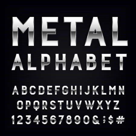 text: Metal Alphabet Vector Font. Type letters, numbers and punctuation marks. Chrome effect letters on dark background. Vector typeset for headlines, posters etc. Illustration