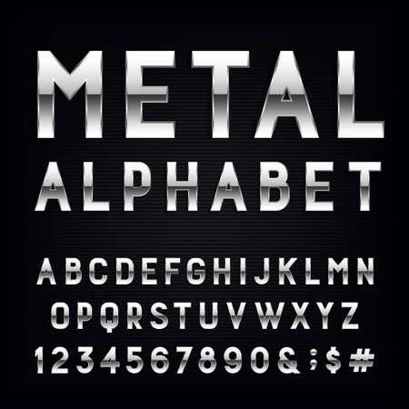 Metales alfabeto vector de fuente. Escriba letras, números y signos de puntuación. Cartas de efecto de cromo sobre fondo oscuro. Vector tipografía para los títulos, carteles, etc.