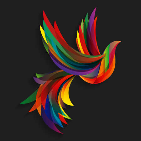 Abstract colorful bird. Flying abstract colorful bird on a dark background. Illustration